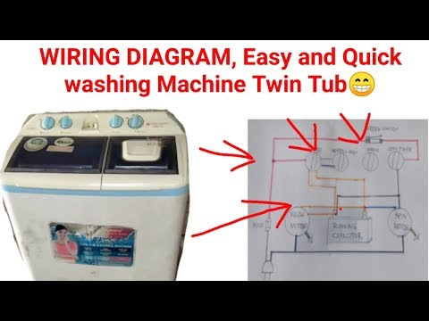 wiring diagram washing machine twin tub model hwm 268 hanabishi/double  capacitor inside - YouTubeYouTube