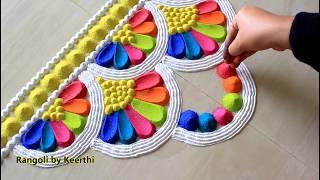 Top diwali rangoli designs with colours l diwali rangoli 2019 l thoran rangoli design using spoon