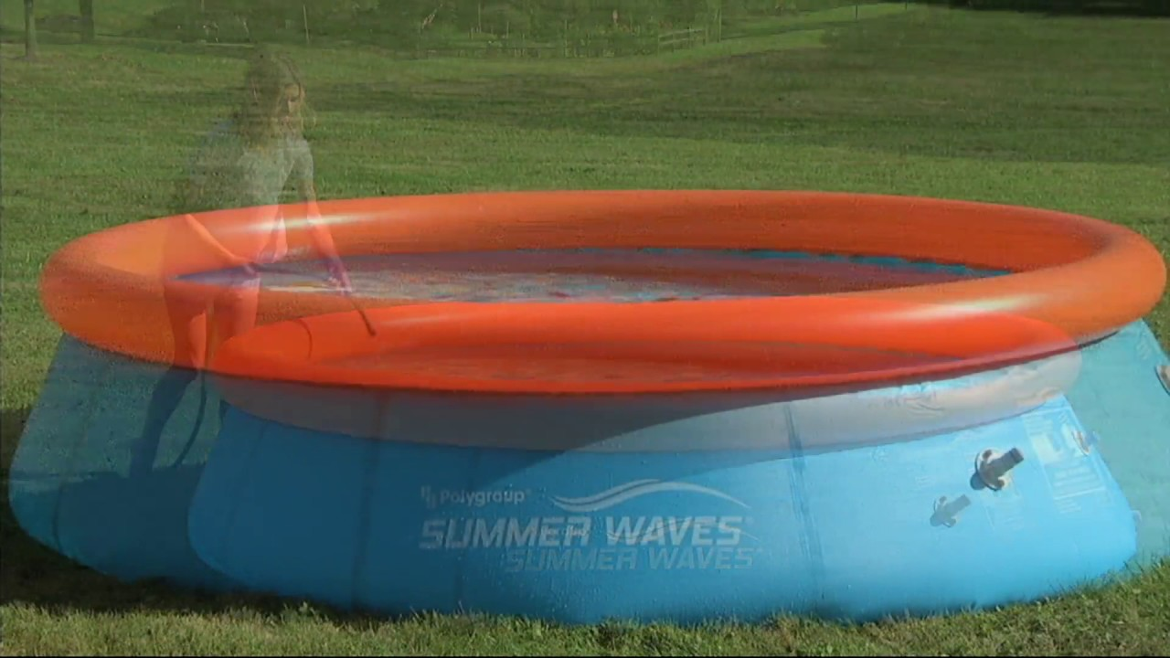 Quick Set Inflatable 10' 3D Swimming Pool w/ 2 Pairs of Goggles on QVC
