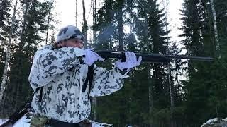 Стрельба магнум патронами из Мр-155 Байкал. Magnum cartridges shooting with MP-155 Baikal