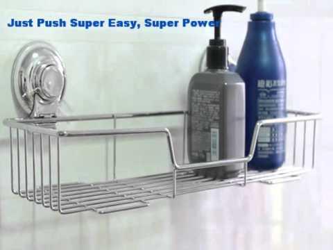Wholesale Push lock suction kitchen storage/bathroom shelf