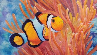 Clownfish & Sea Anemone Acrylic Painting LIVE Tutorial