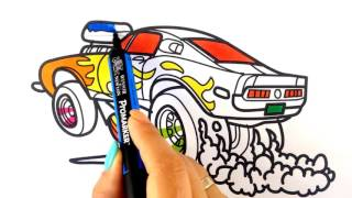 How to draw a car. Ford Mustang Shelby drag racing muscle car (cartoon Hot Wheels style)