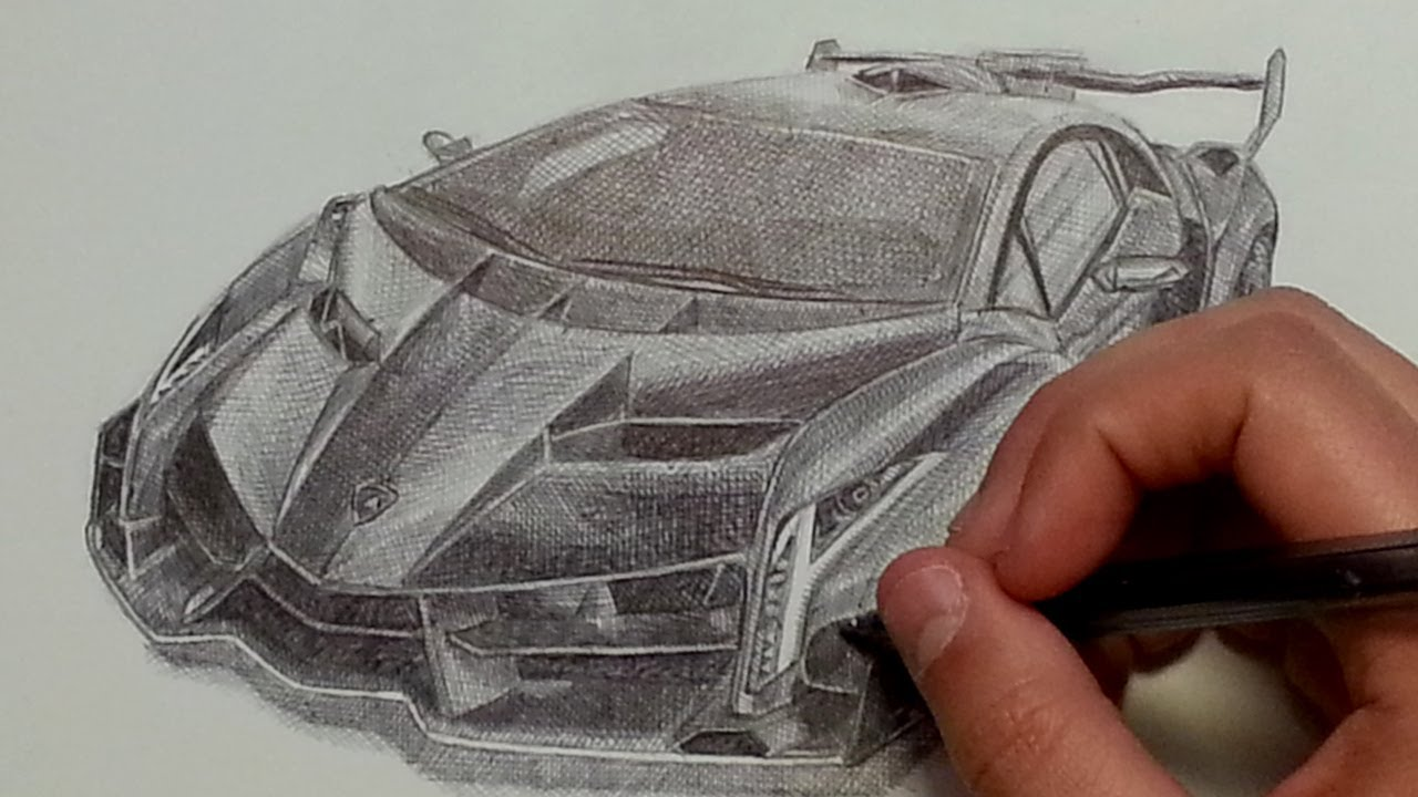 Lamborghini Veneno Drawing With Ballpoint Pen Youtube