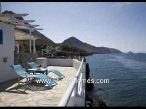 Villa on the beach on Hydra Island Greece.