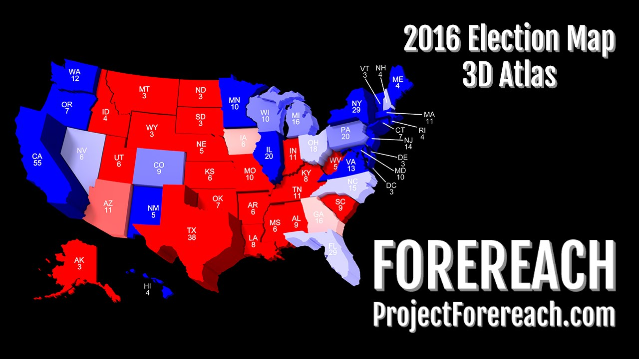 Project Forereach US Presidential Election D Atlas - Us map 2016 elect