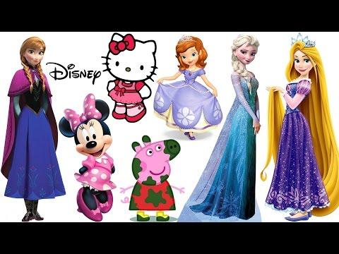 Magnetic Fashion Wooden Dolls Disney Princess Anna Elsa Rapunzel, Peppa Pig, Hello Kitty, Minnie