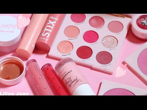 NEW Colourpop Strawberry Collection Strawberry Shake Palette Swatches | Lillee Jean thumbnail