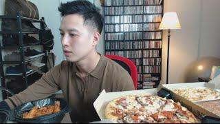 [MUKbang with THIEN]: Pizza Hut, Chicken Alfredo Pasta, and Hershey s Chocolate Brownie