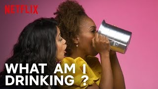 Cast of Someone Great Plays What Am I Drinking With Tipsy Bartender | Netflix