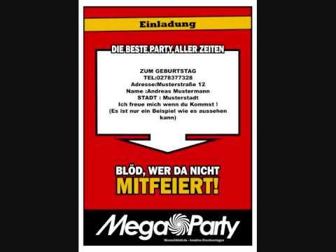 Mega Party ! Erstelle Einladungen Und Vieles Mehr (testvorlage, Einladungs