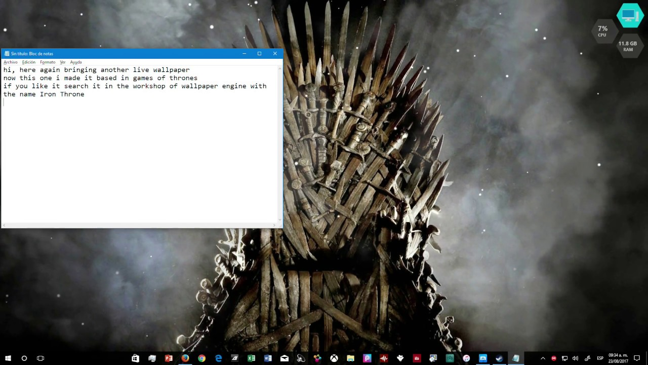 Iron Throne Live Wallpaper Youtube