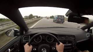 vw golf 7 r acceleration 259km h drivers view on autobahn with no speed limit