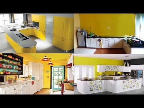Gambar Desain Dekorasi Interior Dapur Cantik Cerah Nuansa Kuning