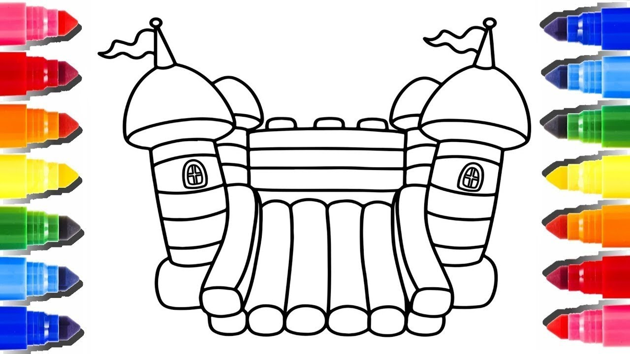 How To Draw Bouncy House Coloring Pages