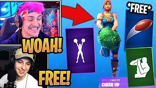 "Streamers React to *FREE* ""Pigskin"" Toy and *NEW* ""Cheer It Up"" & ""Time Out"" Emotes! - Fortnite"