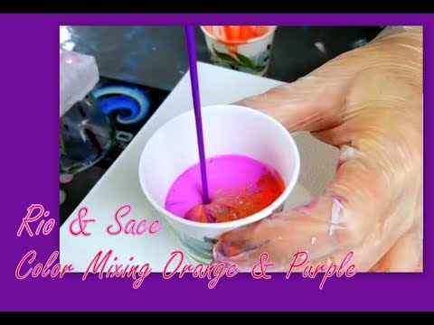 Purple & Orange FIRE CUP Fluid Paint Pour