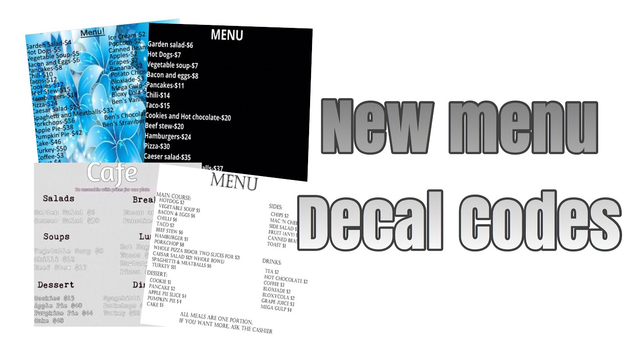 Roblox Bloxburg - New Menu Decal Id's