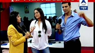 Akshay and Sonakshi in the ABP newsroom to promote Holiday
