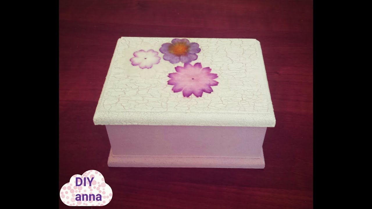 Decoupage box with crackle medium and paper flowers diy ideas youtube premium mightylinksfo