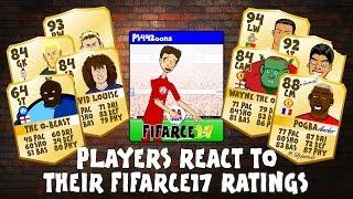 FIFA 17 RATINGS - FOOTBALLERS REACT! (Zlatan, CR7, Messi, Muller, Rooney, Luiz, Akinfenwa parody)