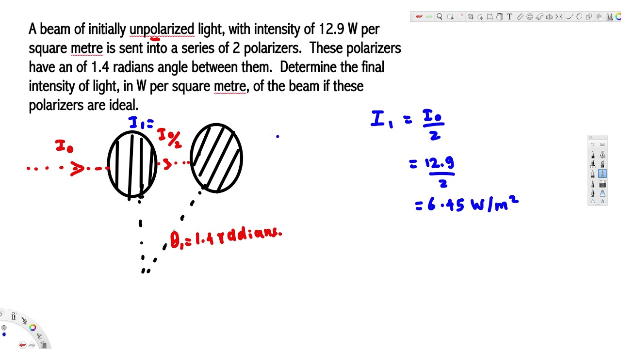Determine The Final Intensity Of Light In W Per Square Metre Of