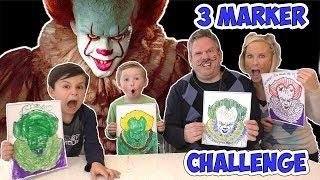 3 Marker Challenge Halloween Edition 3 Pennywise, Hello Neighbor, Minion, Jason Vorhees | DavidsTV
