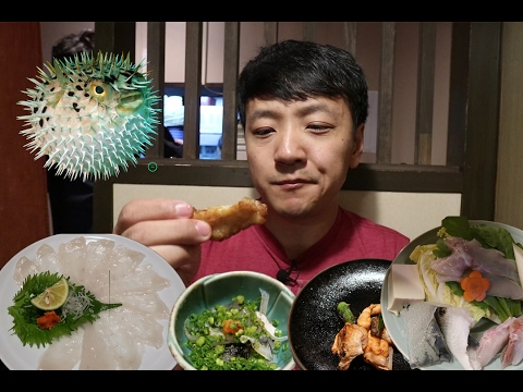 Eating EXTREMELY Poisonous Fugu(Puffer Fish) In Osaka Japan
