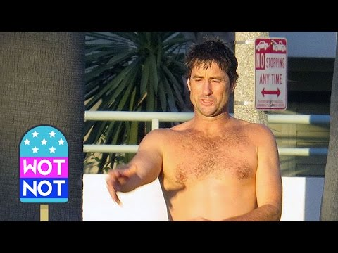 Luke Wilson Topless Playing Fetch with his Dog