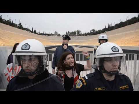 Greek gay activists protest the oppression of the Russian LGBT community