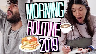 MY REAL MORNING ROUTINE 2019 ☕❤️🥞| MORNING ROUTINE DI COPPIA | Adriana Spink