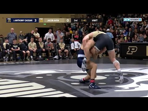 HWT: #3 Anthony Cassar (Penn State) vs. Jacob Aven (Purdue) | Big Ten Wrestling