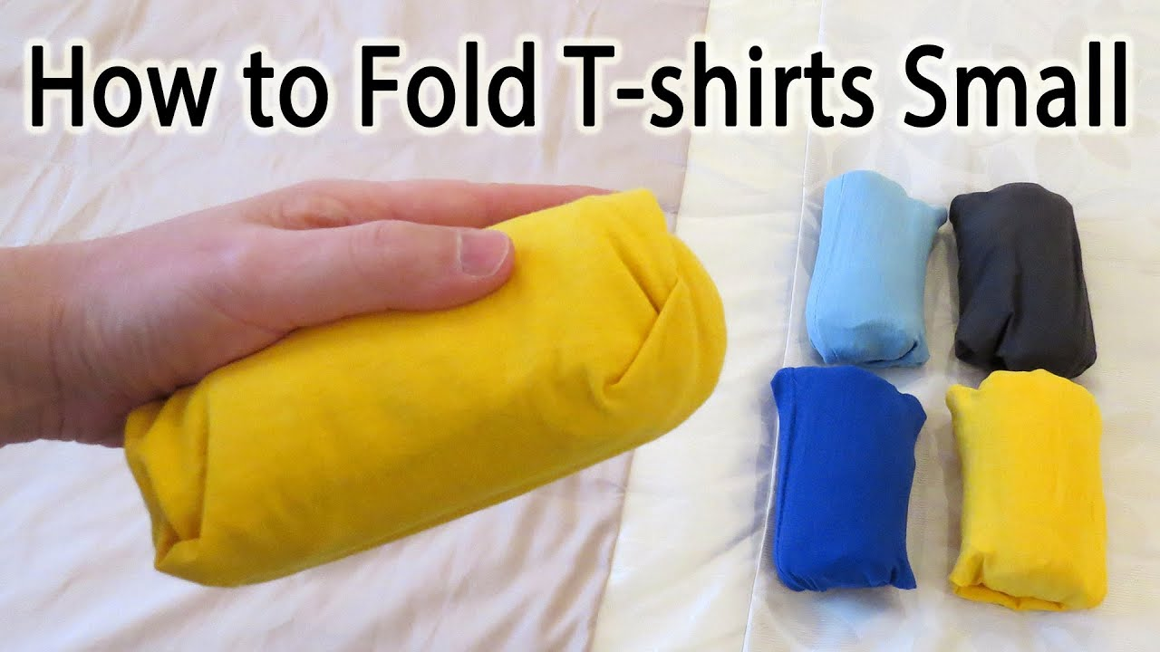 How to fold a t shirt small to save space lifehack youtube for Best way to pack shirts