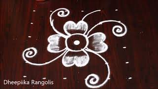 very easy flower muggulu design with 6x6 dots l small kolam for daily l Apartment rangolis