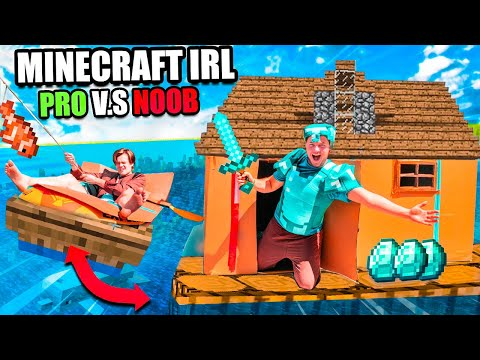 Minecraft IRL Noob Vs PRO Floating Box Fort 24 Hour Challenge!