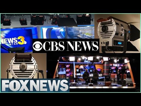 news studio lighting equipment for TV newsroom, weather set design