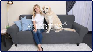 SUBRTEX 1-PIECE PLAID STRETCH SOFA SLIPCOVER