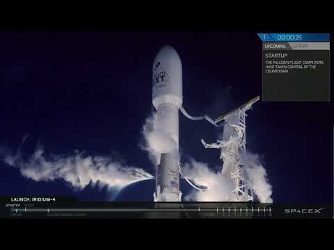 Liftoff To Staging Space-X Falcon 9 Iridium Next 31-40 Communications Satellites On Reused Rocket