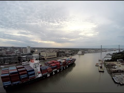 Savannah - Drone Footage of Container Ship on Savannah River