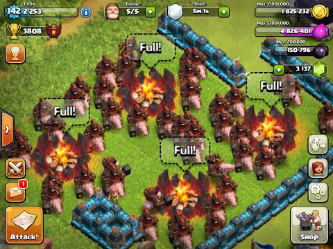 MAXED level 5 HOG RIDER's attack -3 stars against a MAXED base - LIVERAID #12 - CHAMPION - GERMAN