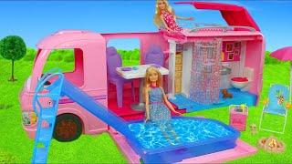 Bonecas da Barbie – Trailer dos Sonhos Barbie Mattel Rosa    Brinquedos de bonecas  das irmãs