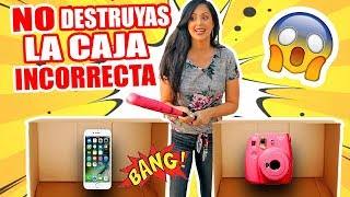 NO DESTRUYAS LA CAJA INCORRECTA! iPhone, TV, Instax Cámara OMG! RETO EXTREMO - SandraCiresArt