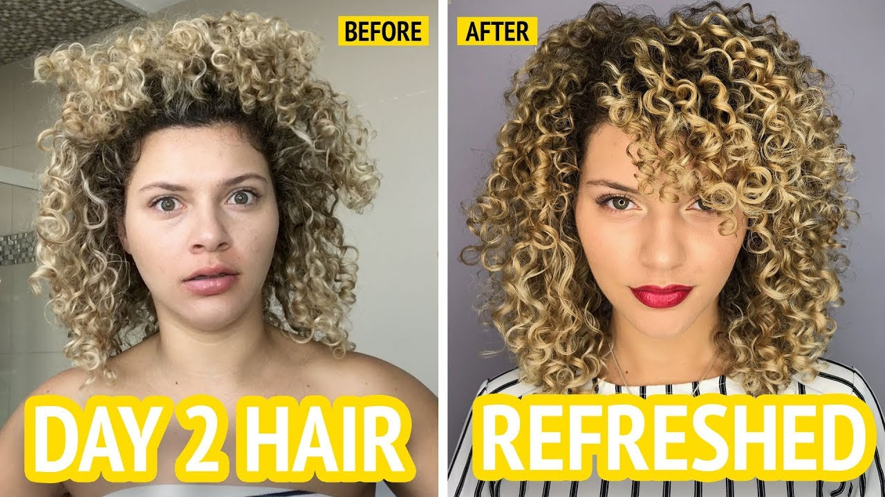 How I Refresh My Curly Hair With No Heat Or Frizz Youtube