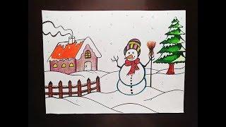 How to draw easy winter season scenery - Snowfall scenery