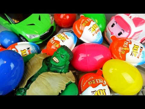 Hulk and car toys Kinder joy and Surprise eggs play