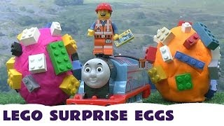 Play Doh Lego Movie Surprise Eggs Thomas The Tank Engine 5 Lego Minifigures Blind Bags Playdough Egg