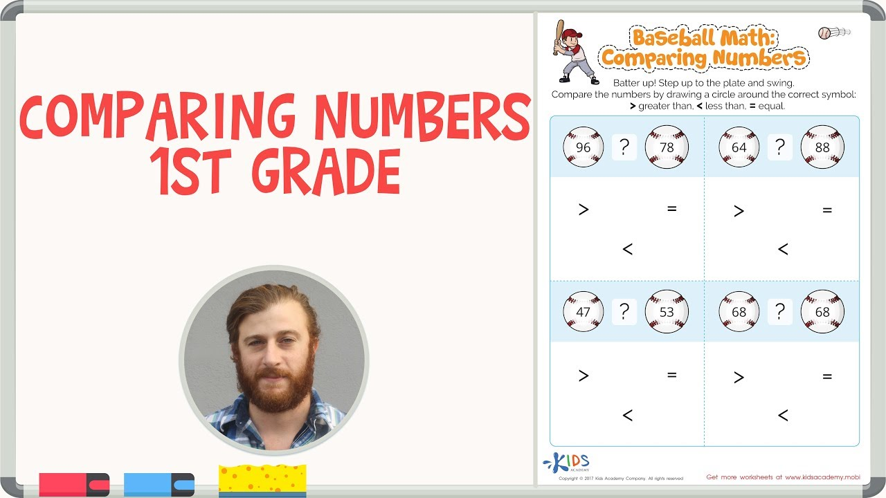 comparing numbers 1st grade math worksheets kids academy youtube. Black Bedroom Furniture Sets. Home Design Ideas