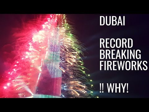 DUBAI BURJ KHALIFA, NEW YEARS Fireworks 2019, RECORD breaking fireworks laser!! Show DUBAI MALL