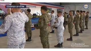 President rodrigo duterte talks to the philippine air force at clark base on friday, february 12. he also leads inspection of paf's newly deliver...