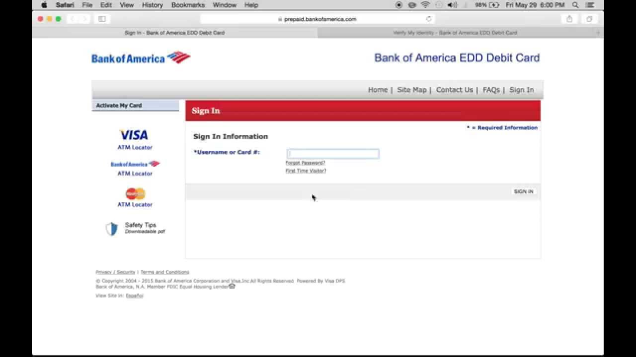 Bank Of America Edd Debit Card Sign In American Credit Center